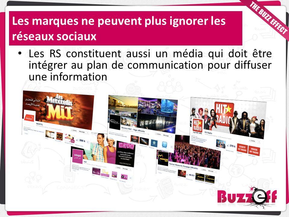Les RS constituent aussi un média qui doit être intégrer au plan de communication pour diffuser une information Les marques ne peuvent plus ignorer le