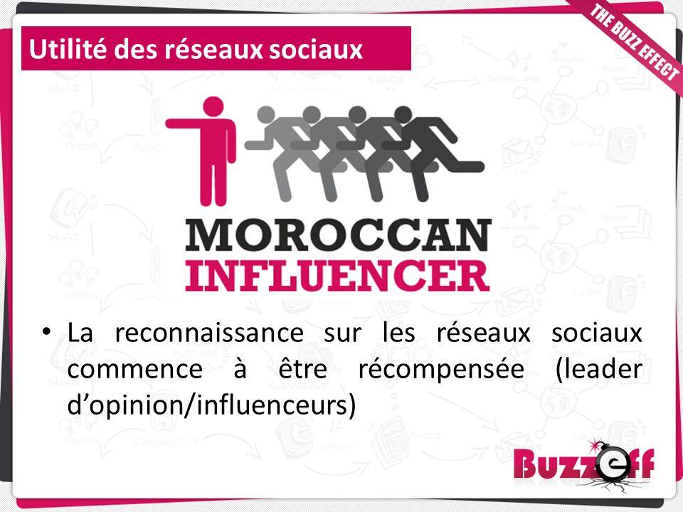Utilité des réseaux sociaux La reconnaissance sur les réseaux sociaux commence à être récompensée (leader dopinion/influenceurs)