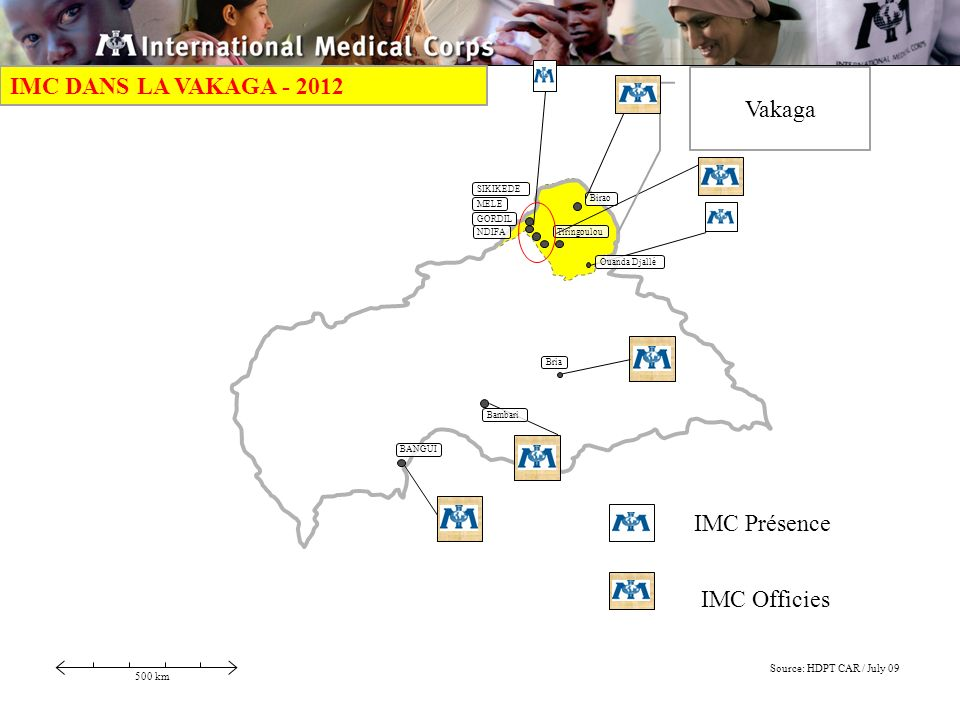 BANGUI 500 km Source: HDPT CAR / July 09 Birao Ouanda Djallé SIKIKEDE Bambari Tiringoulou Bria MELE GORDIL NDIFA IMC Présence IMC Officies Vakaga IMC DANS LA VAKAGA - 2012