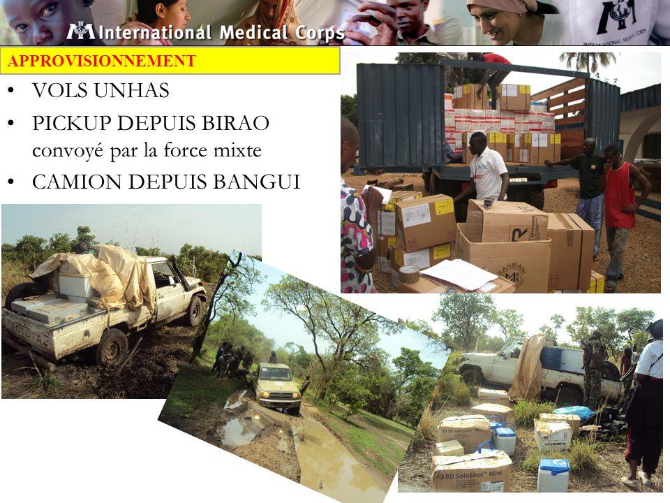 APPROVISIONNEMENT VOLS UNHAS PICKUP DEPUIS BIRAO convoyé par la force mixte CAMION DEPUIS BANGUI