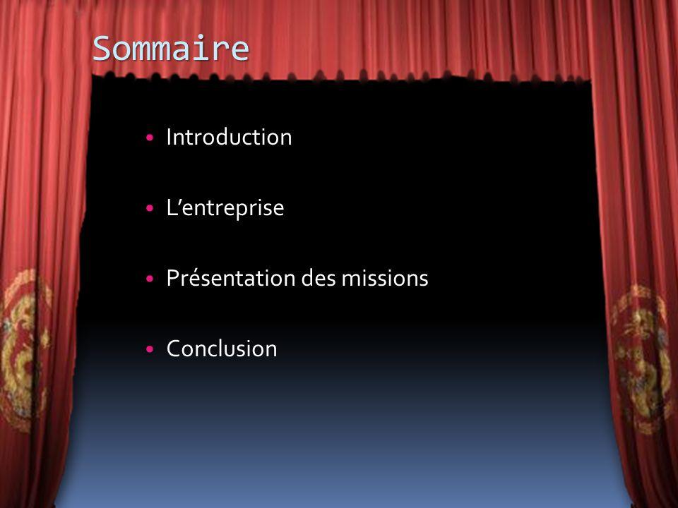 Sommaire Introduction Lentreprise Présentation des missions Conclusion
