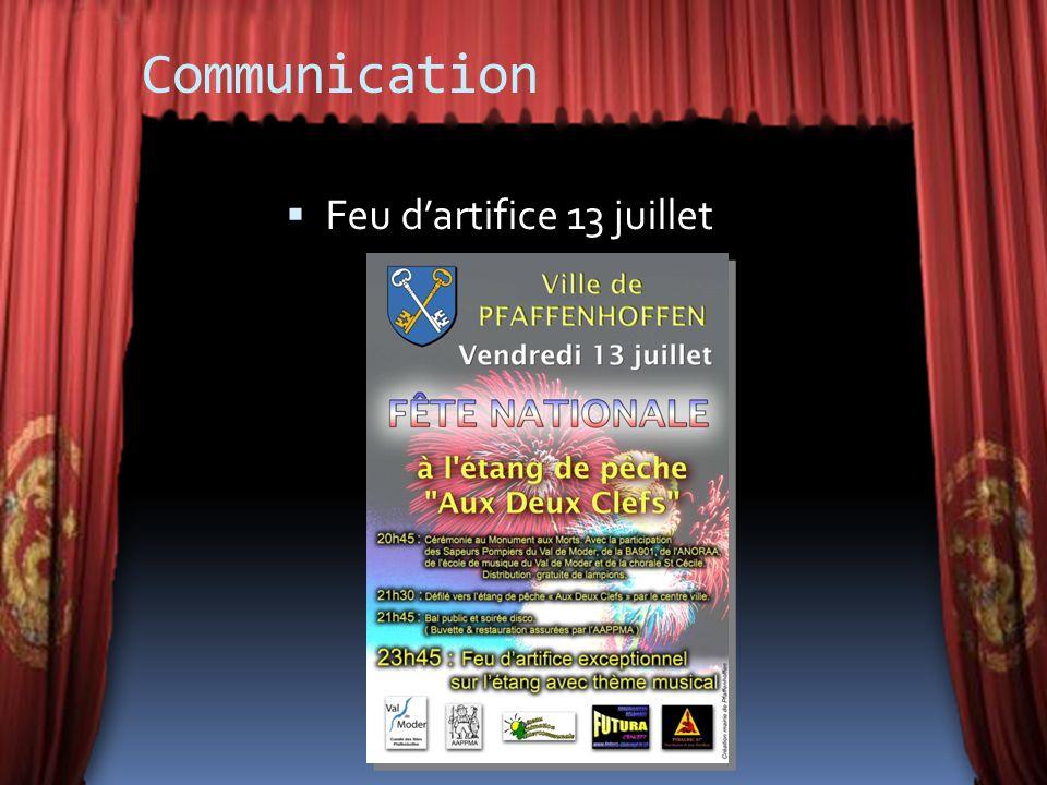 Communication Feu dartifice 13 juillet