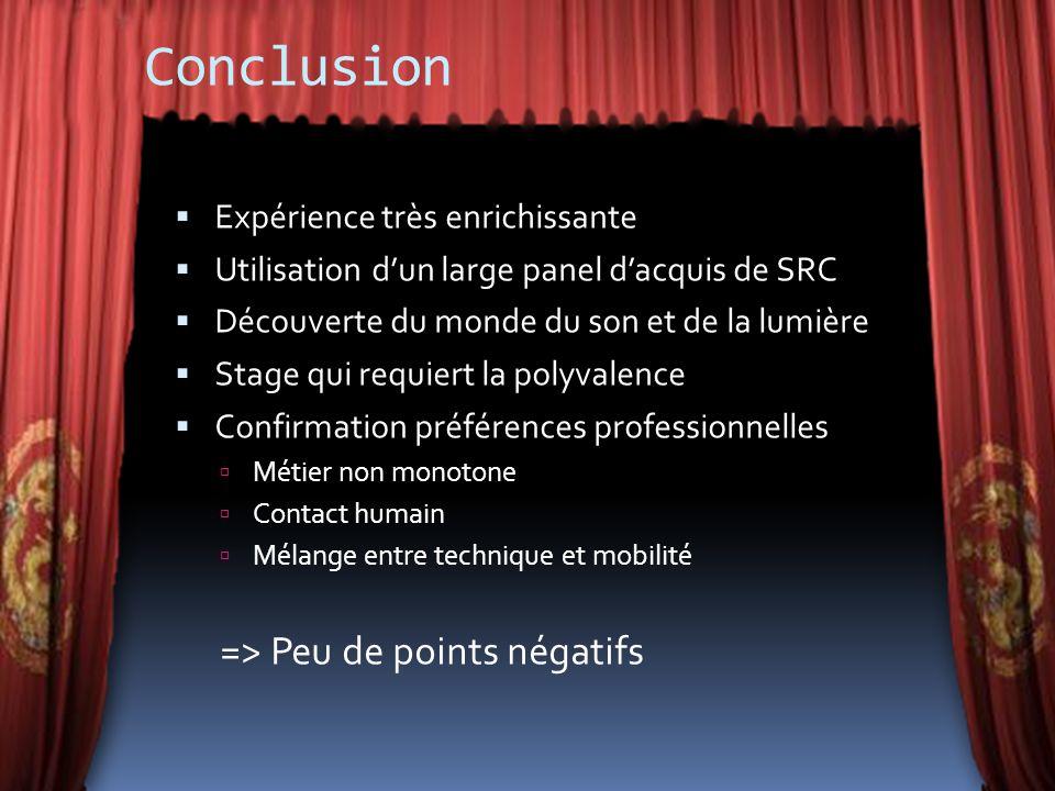 Conclusion Expérience très enrichissante Utilisation dun large panel dacquis de SRC Découverte du monde du son et de la lumière Stage qui requiert la