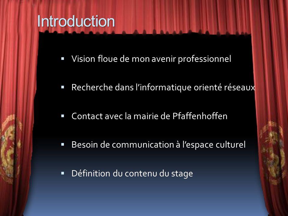 Introduction Vision floue de mon avenir professionnel Recherche dans linformatique orienté réseaux Contact avec la mairie de Pfaffenhoffen Besoin de c