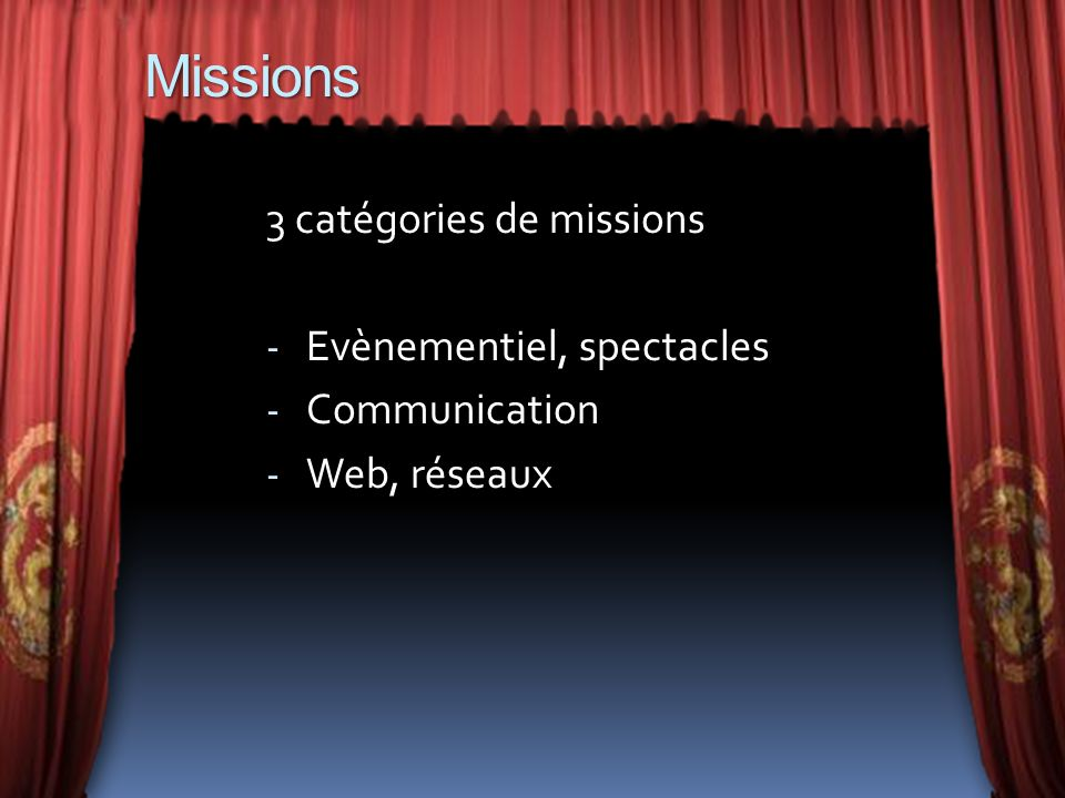 Missions 3 catégories de missions - Evènementiel, spectacles - Communication - Web, réseaux