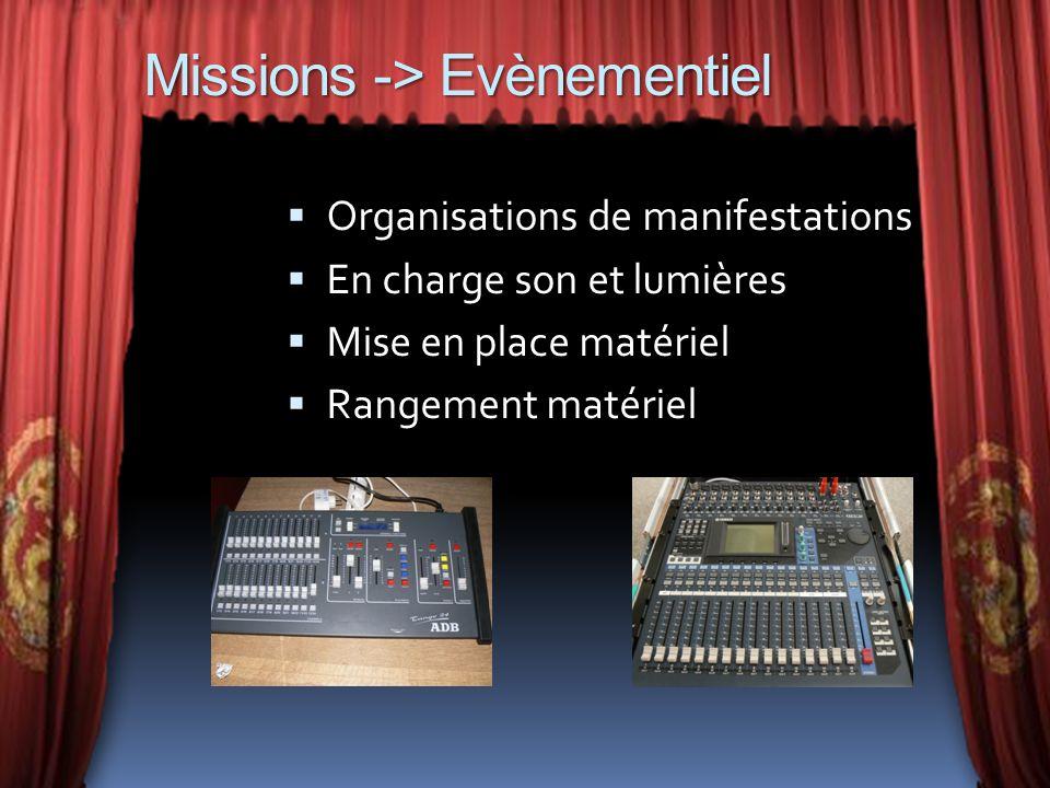 Missions -> Evènementiel Organisations de manifestations En charge son et lumières Mise en place matériel Rangement matériel