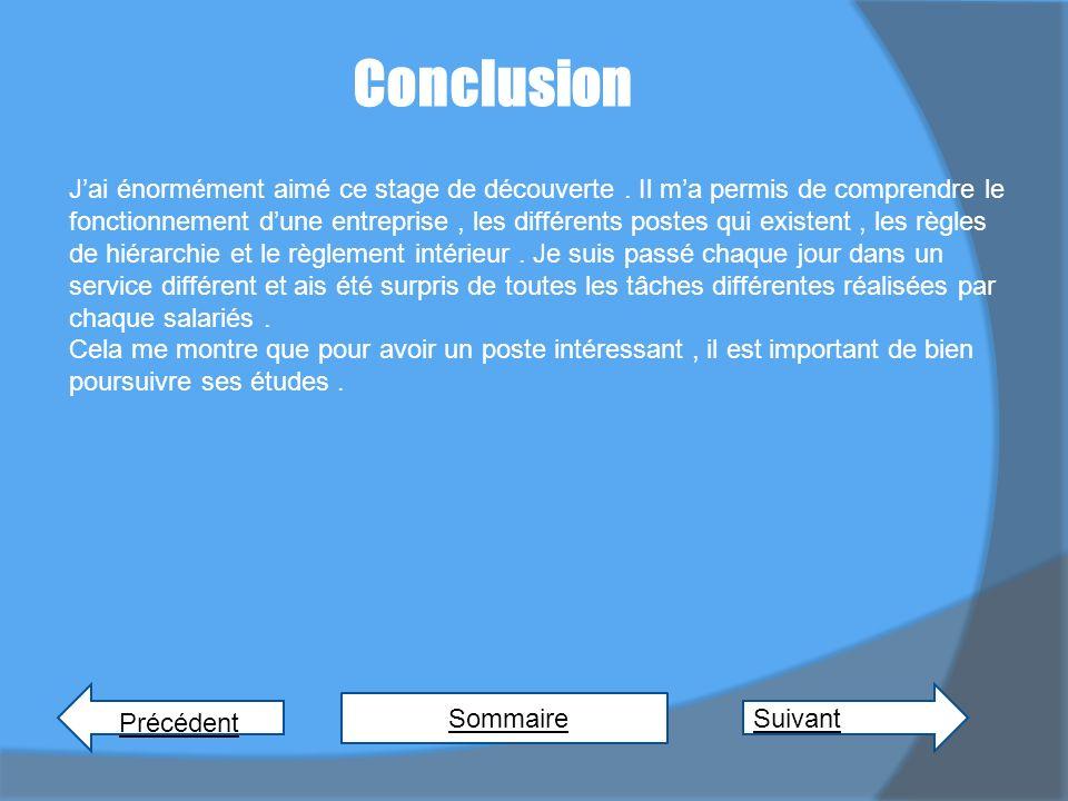 Conclusion Précédent Sommaire Suivant Jai énormément aimé ce stage de découverte.