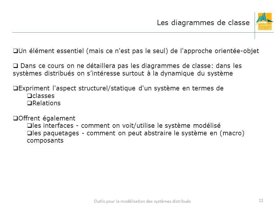 Outils pour la modélisation des systèmes distribués 11 Les diagrammes de classe Un élément essentiel (mais ce n'est pas le seul) de l'approche orienté