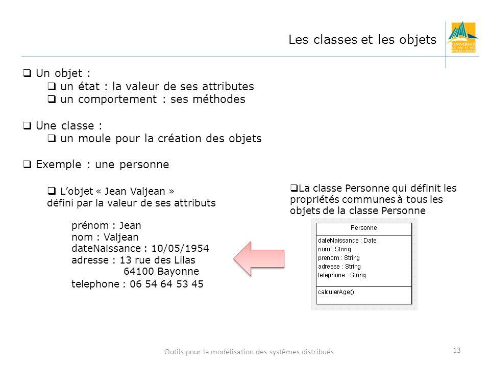 Outils pour la modélisation des systèmes distribués 13 Les classes et les objets Un objet : un état : la valeur de ses attributes un comportement : se