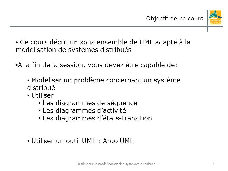 2 Objectif de ce cours Ce cours décrit un sous ensemble de UML adapté à la modélisation de systèmes distribués A la fin de la session, vous devez être