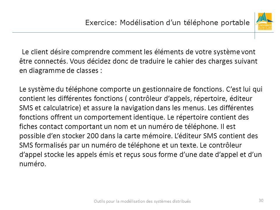 Outils pour la modélisation des systèmes distribués 30 Exercice: Modélisation dun téléphone portable Le client désire comprendre comment les éléments