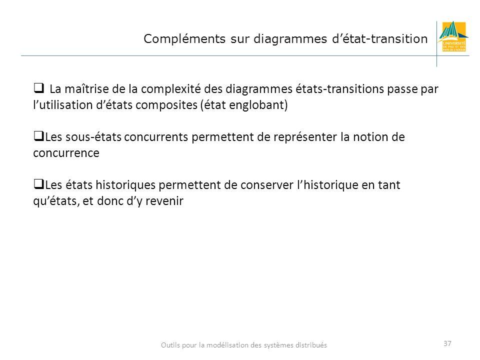 Outils pour la modélisation des systèmes distribués 37 Compléments sur diagrammes détat-transition La maîtrise de la complexité des diagrammes états-t
