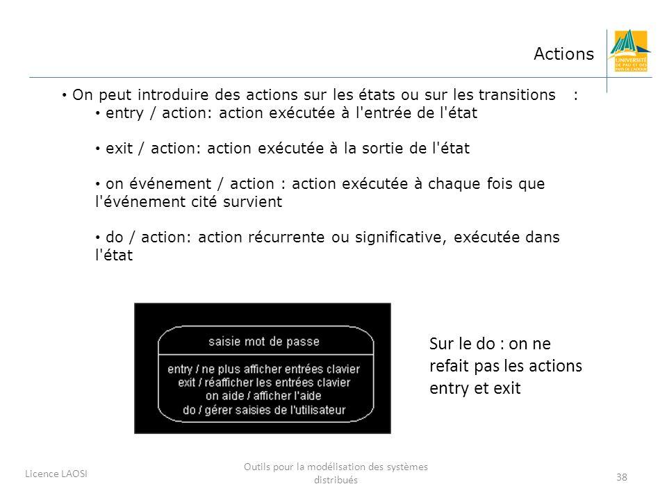 38 Actions On peut introduire des actions sur les états ou sur les transitions : entry / action: action exécutée à l'entrée de l'état exit / action: a