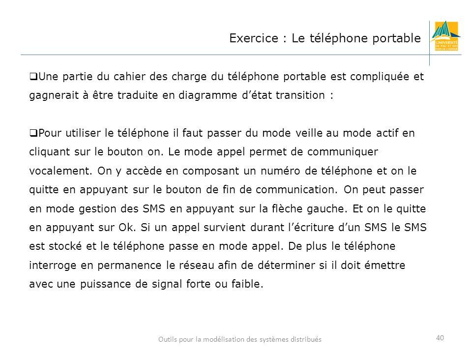 Outils pour la modélisation des systèmes distribués 40 Exercice : Le téléphone portable Une partie du cahier des charge du téléphone portable est comp