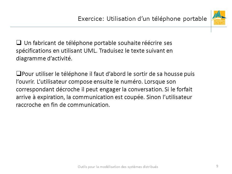 Outils pour la modélisation des systèmes distribués 9 Exercice: Utilisation dun téléphone portable Un fabricant de téléphone portable souhaite réécrir