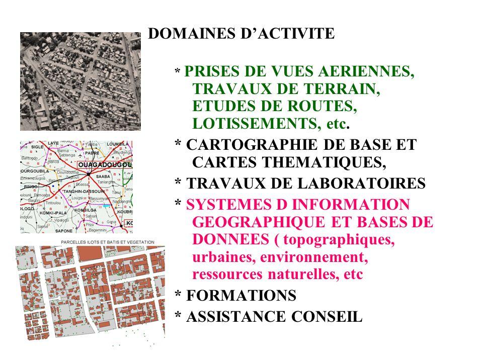 DOMAINES DACTIVITE * PRISES DE VUES AERIENNES, TRAVAUX DE TERRAIN, ETUDES DE ROUTES, LOTISSEMENTS, etc.
