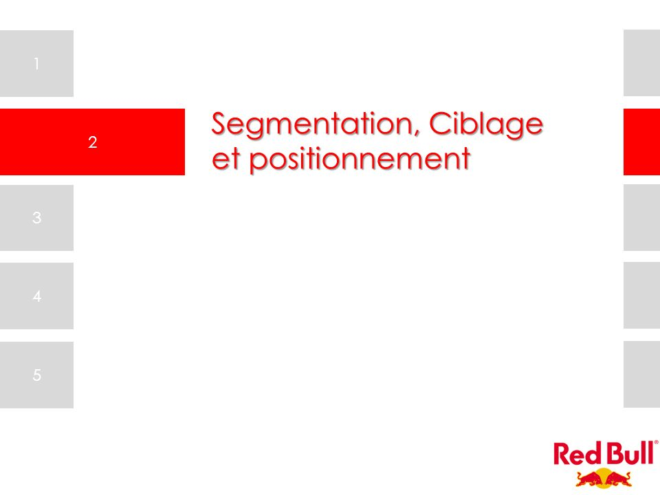 1 2 3 4 5 Segmentation, Ciblage et positionnement