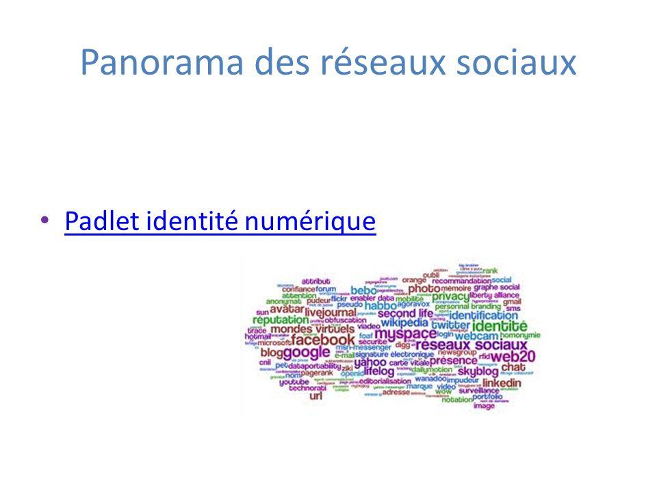 Panorama des réseaux sociaux Padlet identité numérique