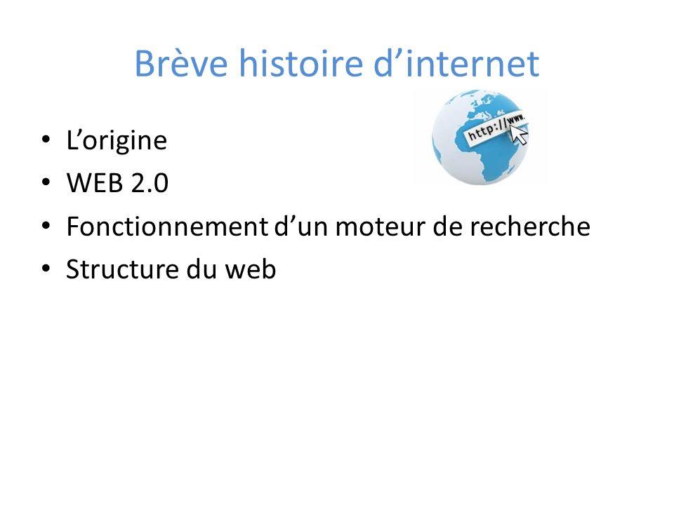 Brève histoire dinternet Lorigine WEB 2.0 Fonctionnement dun moteur de recherche Structure du web