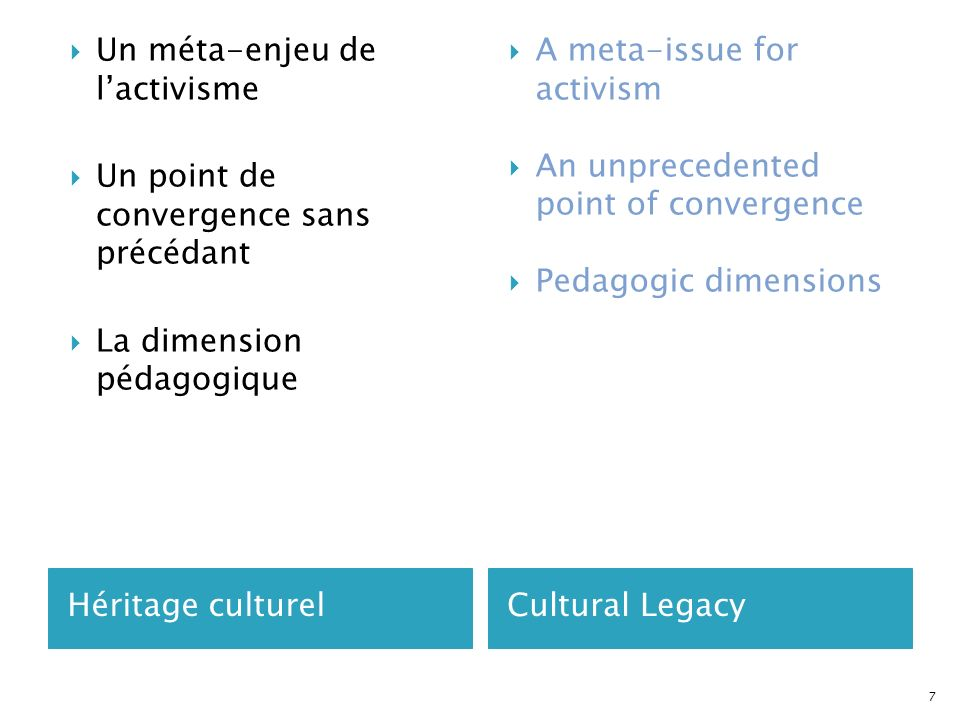 Héritage culturelCultural Legacy Un méta-enjeu de lactivisme Un point de convergence sans précédant La dimension pédagogique A meta-issue for activism An unprecedented point of convergence Pedagogic dimensions 7