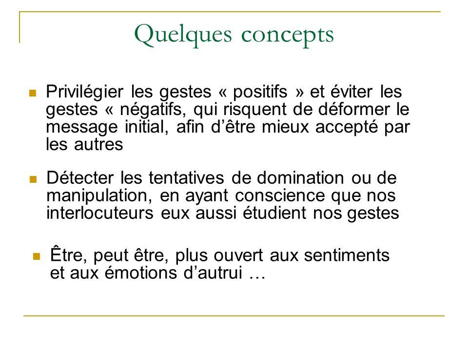 Quelques concepts Privilégier les gestes « positifs » et éviter les gestes « négatifs, qui risquent de déformer le message initial, afin dêtre mieux a