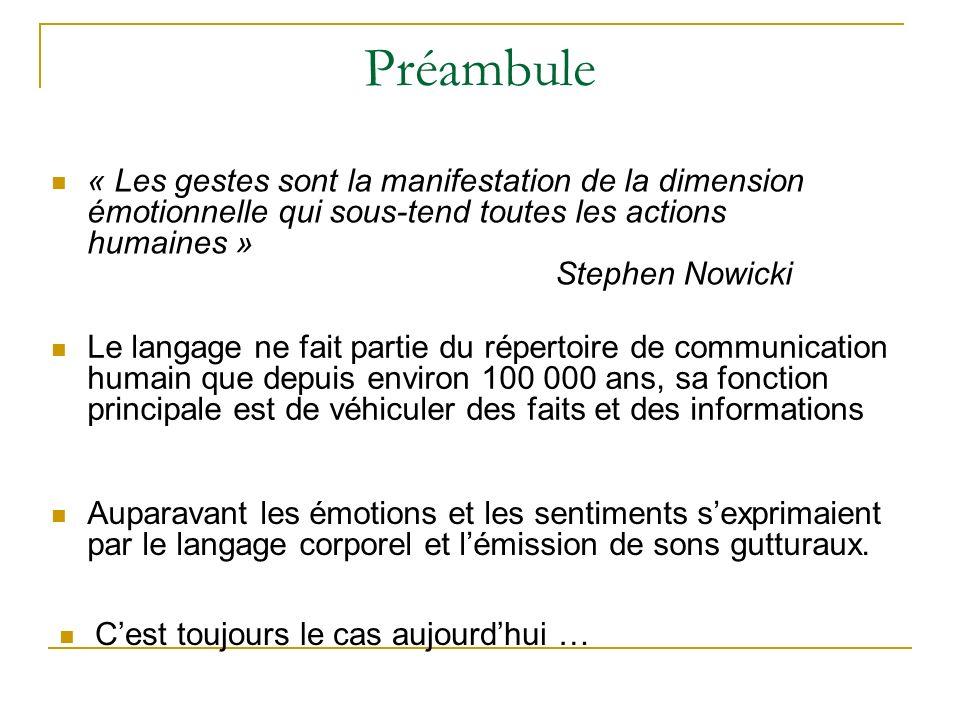 Préambule « Les gestes sont la manifestation de la dimension émotionnelle qui sous-tend toutes les actions humaines » Stephen Nowicki Le langage ne fa