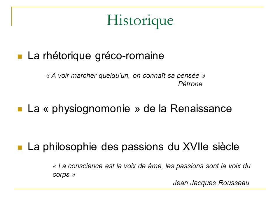 Historique La rhétorique gréco-romaine « A voir marcher quelquun, on connaît sa pensée » Pétrone « La conscience est la voix de âme, les passions sont