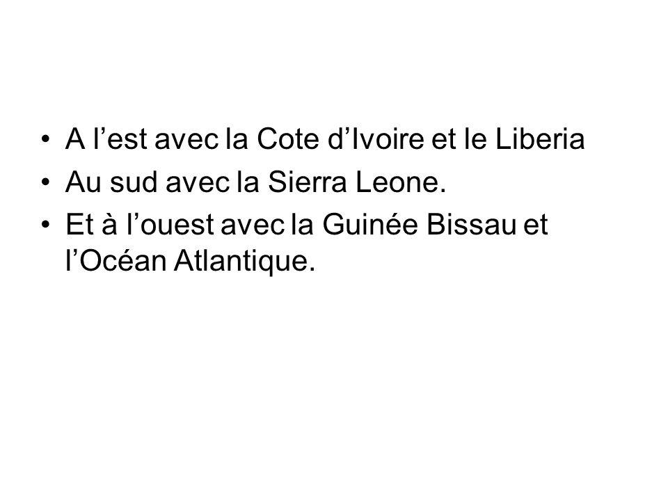 A lest avec la Cote dIvoire et le Liberia Au sud avec la Sierra Leone.