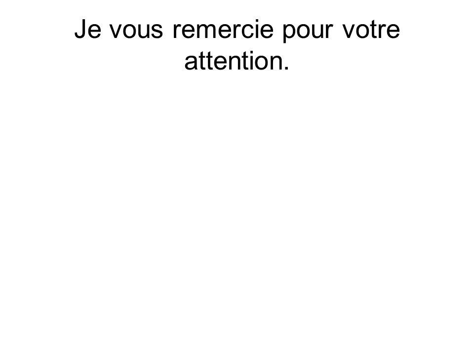 Je vous remercie pour votre attention.