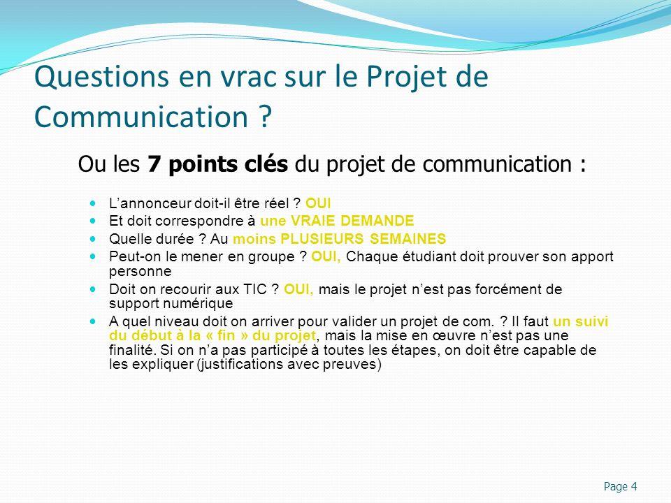 Questions en vrac sur le Projet de Communication ? Lannonceur doit-il être réel ? OUI Et doit correspondre à une VRAIE DEMANDE Quelle durée ? Au moins