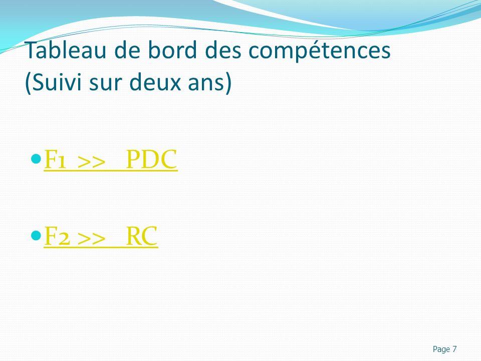 Tableau de bord des compétences (Suivi sur deux ans) F1>>PDC F1>>PDC F2>>RC F2>>RC Page 7