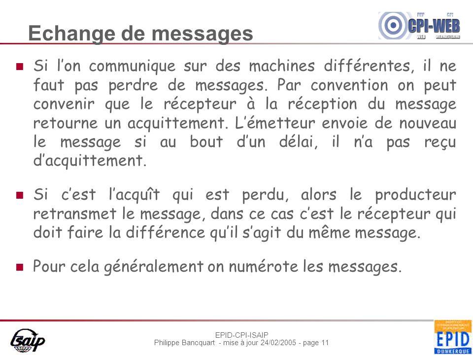 EPID-CPI-ISAIP Philippe Bancquart - mise à jour 24/02/2005 - page 11 Echange de messages Si lon communique sur des machines différentes, il ne faut pas perdre de messages.