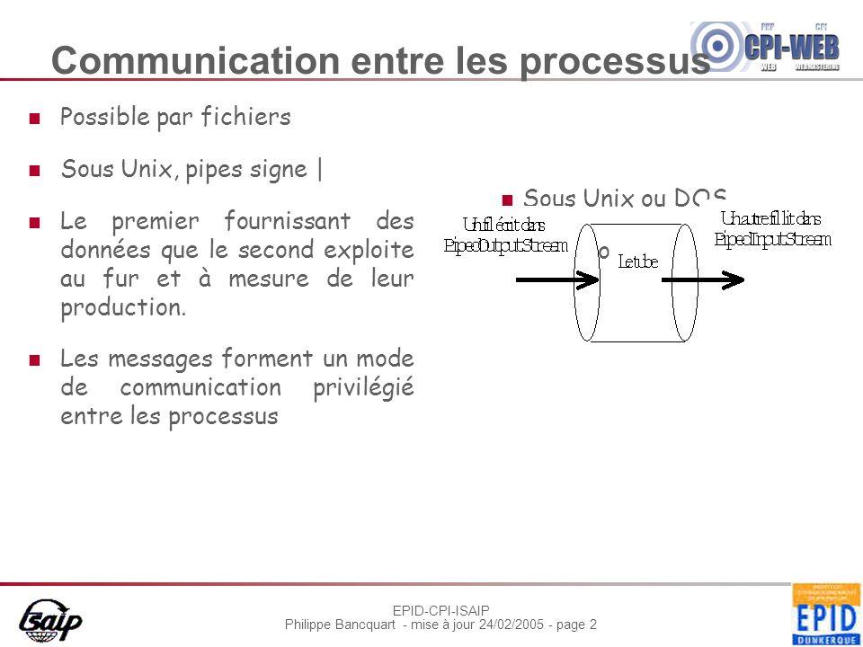 EPID-CPI-ISAIP Philippe Bancquart - mise à jour 24/02/2005 - page 2 Communication entre les processus Possible par fichiers Sous Unix, pipes signe | Le premier fournissant des données que le second exploite au fur et à mesure de leur production.
