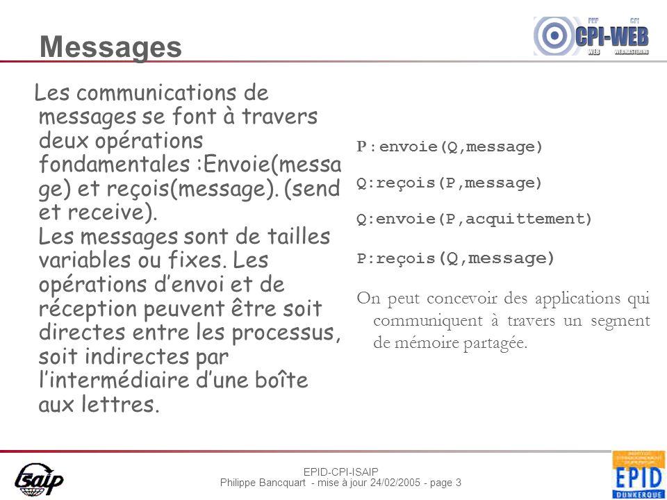 EPID-CPI-ISAIP Philippe Bancquart - mise à jour 24/02/2005 - page 3 Messages Les communications de messages se font à travers deux opérations fondamentales :Envoie(messa ge) et reçois(message).
