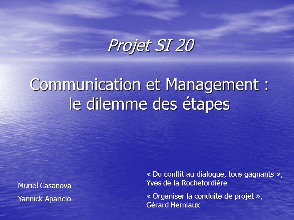 Projet SI 20 Communication et Management : le dilemme des étapes Muriel Casanova Yannick Aparicio « Du conflit au dialogue, tous gagnants », Yves de la Rochefordière « Organiser la conduite de projet », Gérard Herniaux