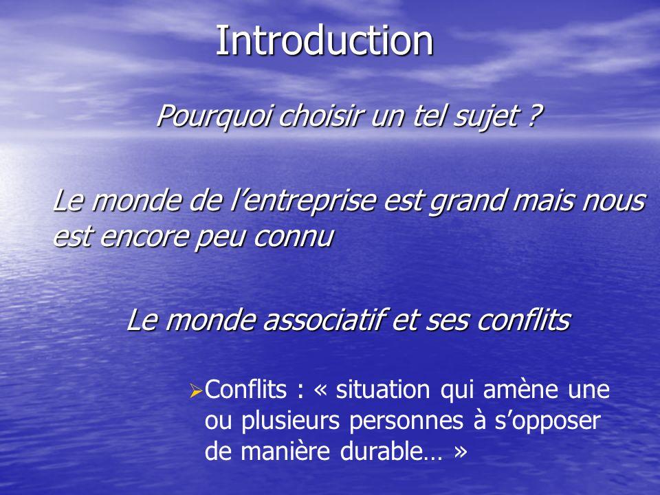 Introduction Conflits : « situation qui amène une ou plusieurs personnes à sopposer de manière durable… » Pourquoi choisir un tel sujet .