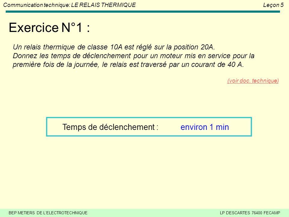 BEP METIERS DE LELECTROTECHNIQUELP DESCARTES 76400 FECAMP Communication technique: LE RELAIS THERMIQUELeçon 5 EXERCICES