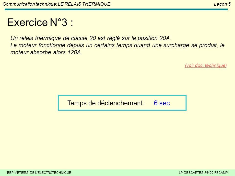BEP METIERS DE LELECTROTECHNIQUELP DESCARTES 76400 FECAMP Communication technique: LE RELAIS THERMIQUELeçon 5 Exercice N°2 : Un relais thermique de cl