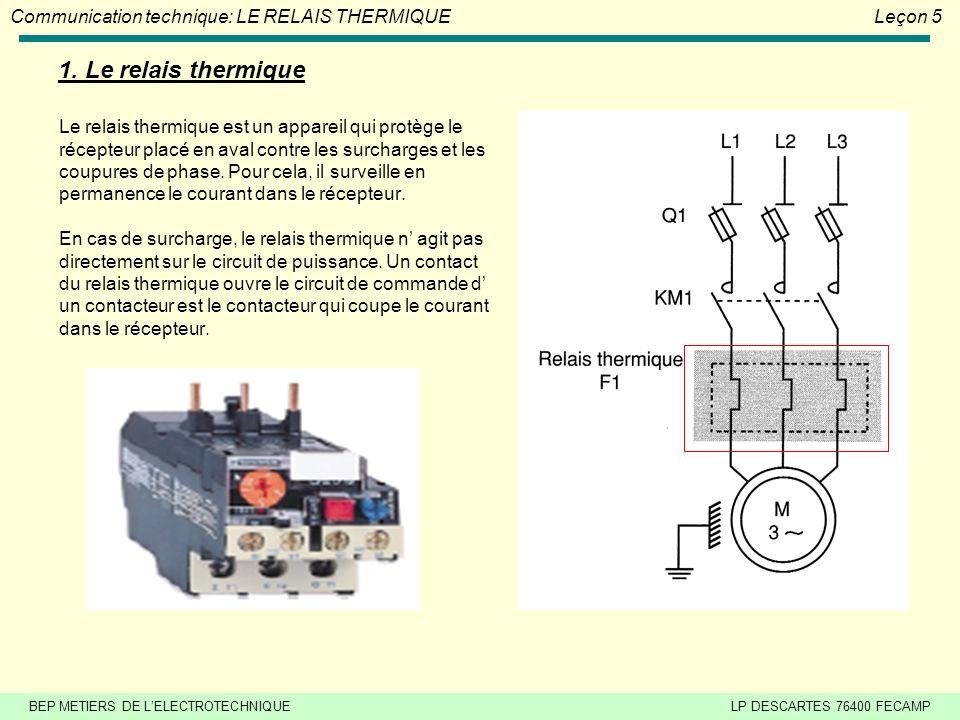 BEP METIERS DE LELECTROTECHNIQUELP DESCARTES 76400 FECAMP Communication technique: LE RELAIS THERMIQUELeçon 5 Le relais thermique est un appareil qui protège le récepteur placé en aval contre les surcharges et les coupures de phase.