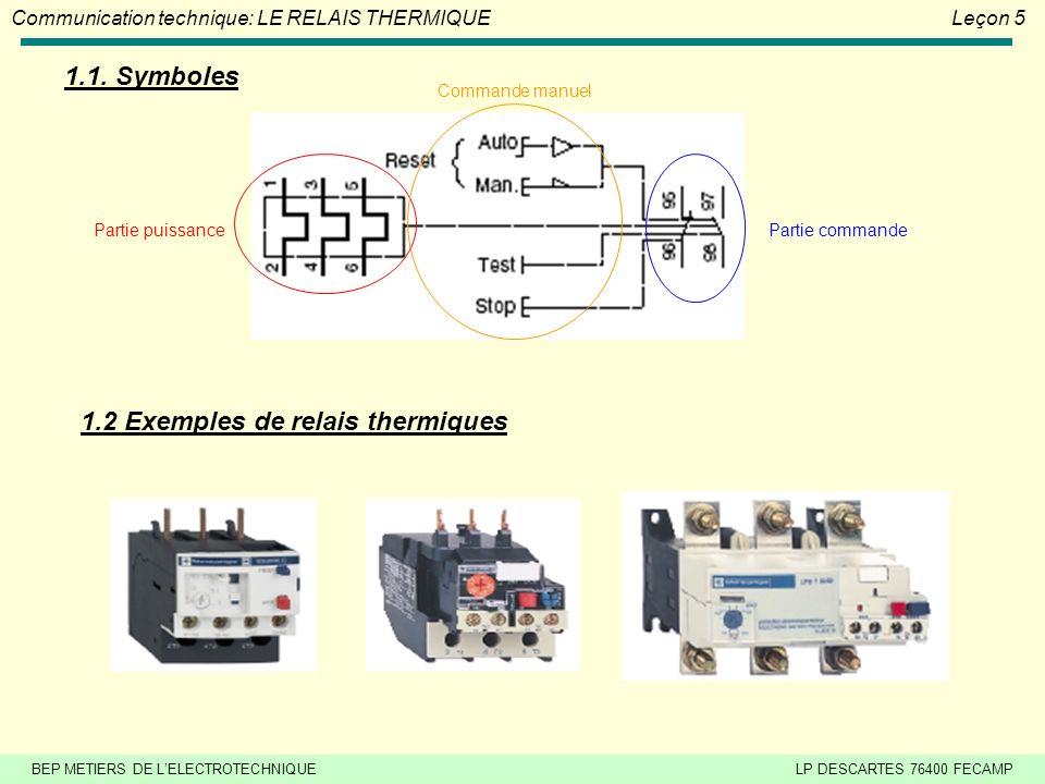 BEP METIERS DE LELECTROTECHNIQUELP DESCARTES 76400 FECAMP Communication technique: LE RELAIS THERMIQUELeçon 5 1.1.