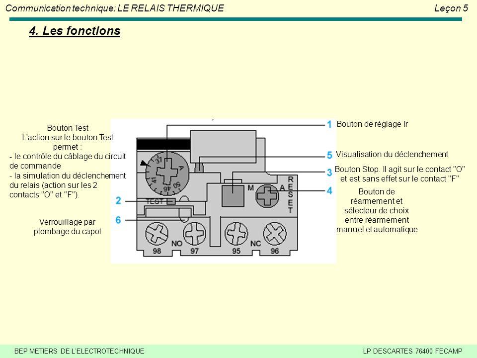 BEP METIERS DE LELECTROTECHNIQUELP DESCARTES 76400 FECAMP Communication technique: LE RELAIS THERMIQUELeçon 5 4.
