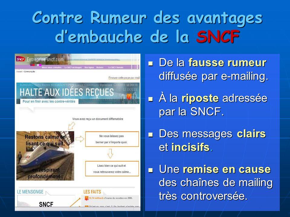 De la fausse rumeur diffusée par e-mailing. De la fausse rumeur diffusée par e-mailing. À la riposte adressée par la SNCF. À la riposte adressée par l