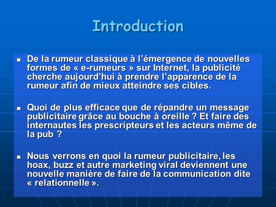 Introduction De la rumeur classique à lémergence de nouvelles formes de « e-rumeurs » sur Internet, la publicité cherche aujourdhui à prendre lapparen