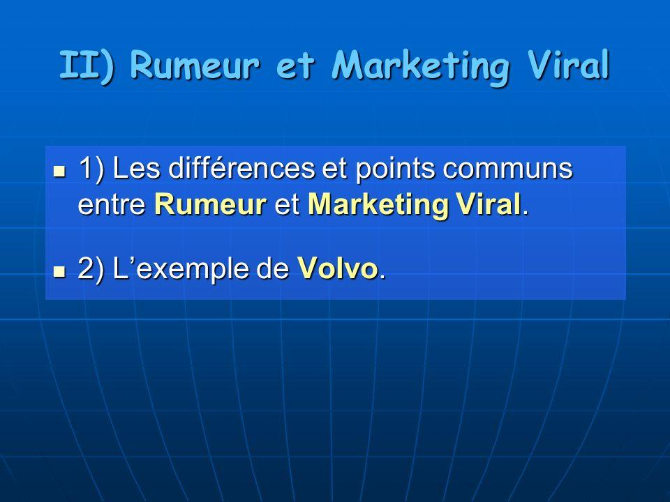 II) Rumeur et Marketing Viral 1) Les différences et points communs entre Rumeur et Marketing Viral. 1) Les différences et points communs entre Rumeur