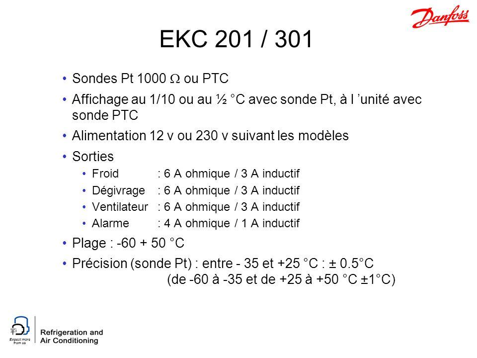 Expect more from us EKC 201 / 301 Sondes Pt 1000 ou PTC Affichage au 1/10 ou au ½ °C avec sonde Pt, à l unité avec sonde PTC Alimentation 12 v ou 230 v suivant les modèles Sorties Froid: 6 A ohmique / 3 A inductif Dégivrage: 6 A ohmique / 3 A inductif Ventilateur: 6 A ohmique / 3 A inductif Alarme: 4 A ohmique / 1 A inductif Plage : -60 + 50 °C Précision (sonde Pt) : entre - 35 et +25 °C : ± 0.5°C (de -60 à -35 et de +25 à +50 °C ±1°C)