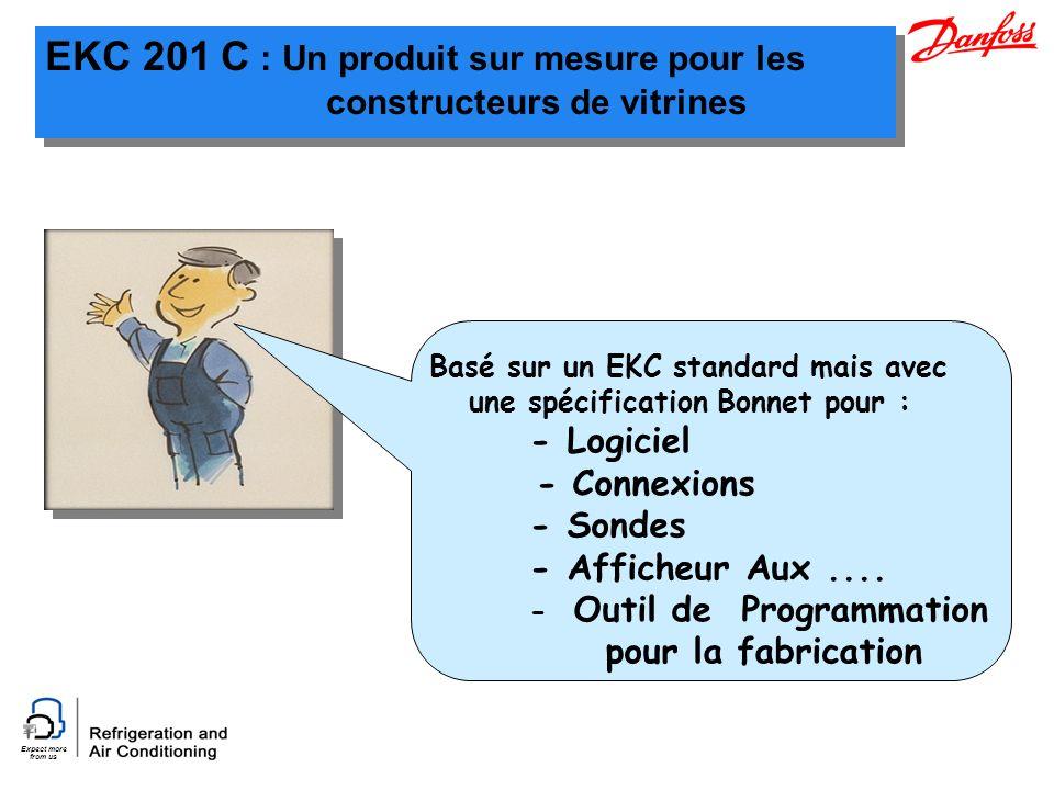 Expect more from us EKC 201 C : Un produit sur mesure pour les constructeurs de vitrines Basé sur un EKC standard mais avec une spécification Bonnet pour : - Logiciel - Connexions - Sondes - Afficheur Aux....