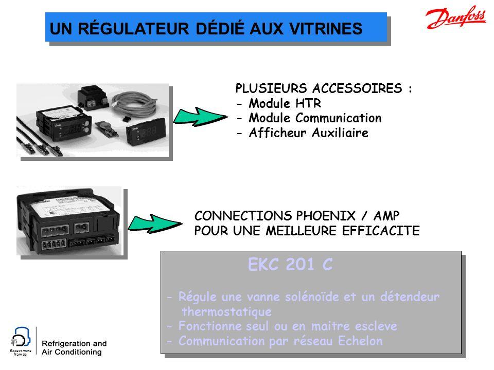 Expect more from us UN RÉGULATEUR DÉDIÉ AUX VITRINES EKC 201 C - Régule une vanne solénoïde et un détendeur thermostatique - Fonctionne seul ou en mai