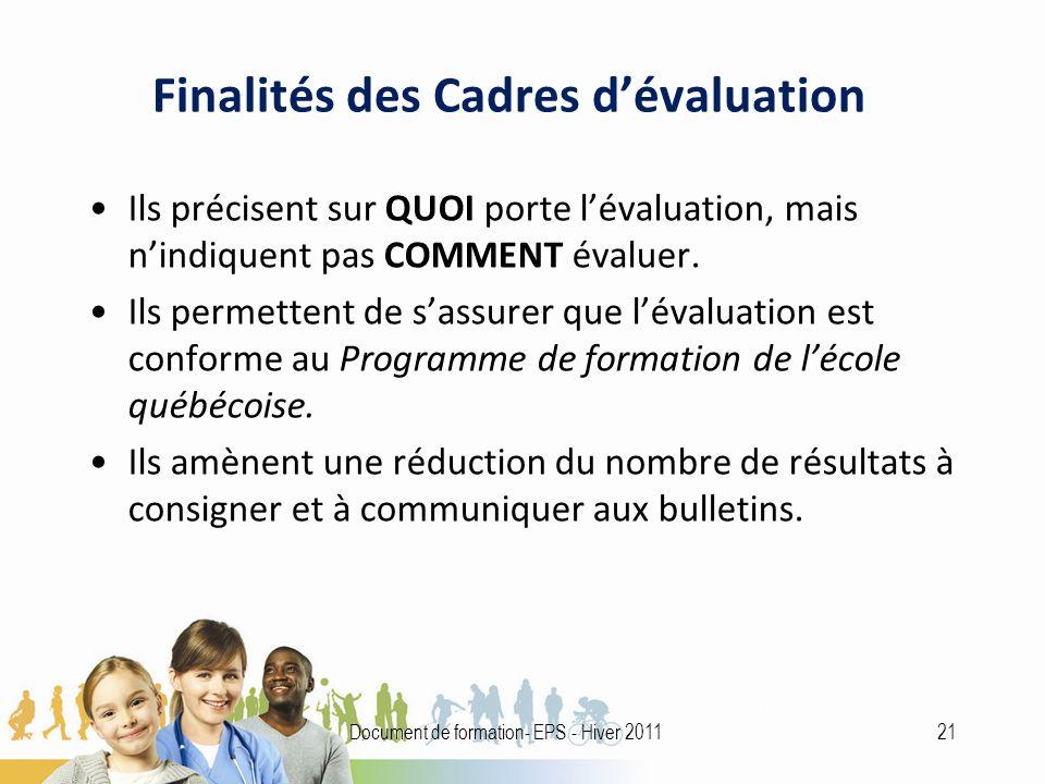 Finalités des Cadres dévaluation Ils précisent sur QUOI porte lévaluation, mais nindiquent pas COMMENT évaluer.