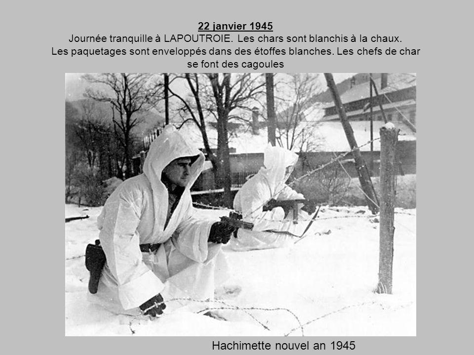 20 janvier 1945 Le départ a lieu à 08h30 de LA PETITE FOSSE. Litinéraire est: PROVENCHERES - ST DIE – FRAIZE - LE BONHOMME. Lescadron est orienté sur