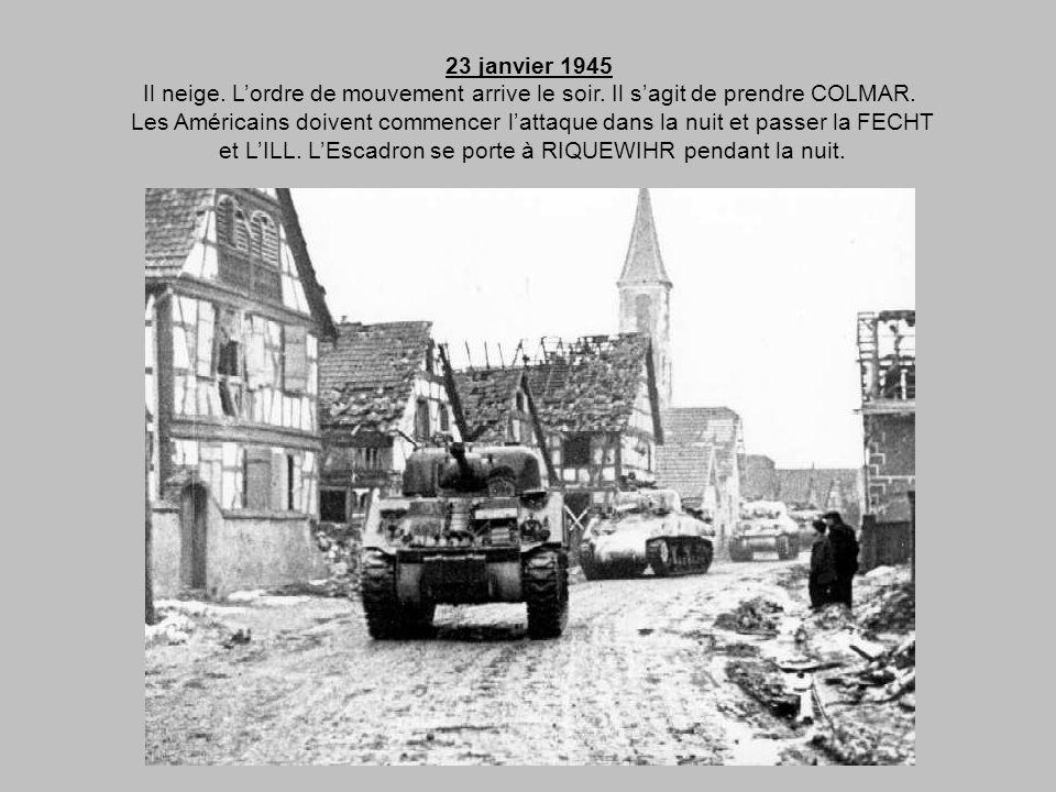 22 janvier 1945 Journée tranquille à LAPOUTROIE. Les chars sont blanchis à la chaux. Les paquetages sont enveloppés dans des étoffes blanches. Les che